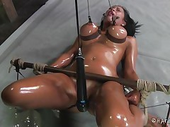 This is something you will love to watch! Marine is a smoking hot babe, she's all oiled up and tied. Her big boobs are squeezed and have clamps on the nipples and her thighs are spread wide. Between those sexy thighs Marine has a pink cunt that has been gaped for us so we can enjoy the sight of it's insides