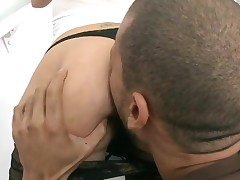 Stunning bitch with great oiled butt gets her vagina nailed