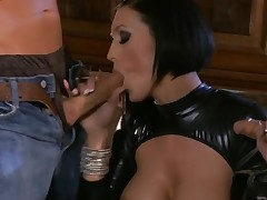 Beauty performs great oral-service in advance of rodeo on piece of meat