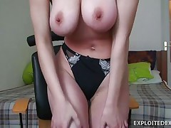 Vanessa is a slut that love to be fucked deep and in the vagina. I am watching her while she shooting herself in her room being naked. She has round big tits and a large hairy pussy. She starts rubbing her clitoris waiting for me to come and fuck her between her tits, in her vagina and in the ass.