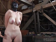 This fucking bitch gets what she deserves. All tied up and with her face covered with leather mask, she expects full pussy treatment. The mysterious man plays hard with her nipples and pussy and is driving her crazy. He uses magic electric wands filling Holly with sexual desires. Let`s see her bondage fantasies!