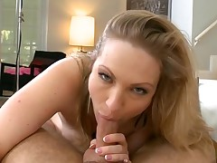Busty darling delights with oral sex and sexy titty fuck