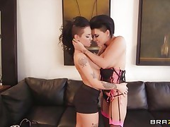 Watch horny latina Eva Angelina and hot Caucasian Christy Mack playing their little lesbian game, naked! See their busty bodies with nice bog boobs, amazing asses and shaved pussies. These brunettes were kissing each other, laughing and getting hornier as their nipples were getting harder! But soon that guy came and started this hot threesome with them!