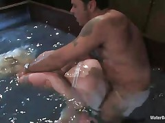 Pretty blonde Lorelei is being fucked and drowned by Steven. He fucks her pussy in that big water bowl and when the guy is not happy with her he just drowns the bitch a little. She got the idea now and gives her best to please her man so he wouldn't put her head underwater again! That's a good girl