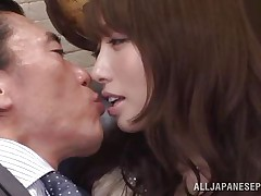 Arisu loves her boss and her job. She does everything in her power to make her employer happy even if it means to be a total slut. Arisu allows him to grope her sweet boobs and then lick her cunt over those pantyhose. Take a look at her and that cum asking pussy under her panties, she really needs it fucked now.