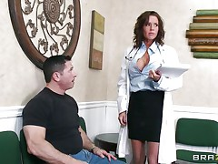 Veronica knows how to take care of her patients. She examines this guy and then decides that the perfect treatment for him would be a mean blowjob. The sexy milf doc opens her mouth with pleasure and slides her lips and tongue in that big hard penis. Will she get repaid with a big load of jizz on her face?